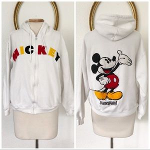 Mickey Mouse Disneyland White Zip Up Hoodie